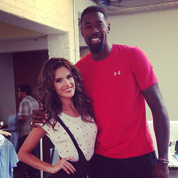 Alessandra Ambrosio shared a snap while shooting a Funny or Die video with Clippers player DeAndre Jordan. Source: Instagram user alessandraambrosio