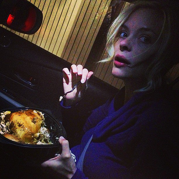 "Pregnant Jaime King asked her followers if it was wrong to ""eat your rotisserie chicken with a spoon.""  Source: Instagram user jaime_king"