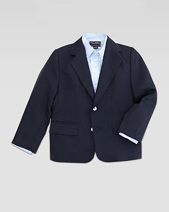 Oscar de la Renta Boys' Two-Button Blazer, Navy, Sizes 4Y-10Y