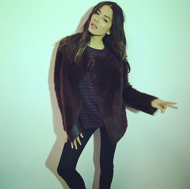 Jessica Gomes, looking as cool as ever in clothes from David Jones