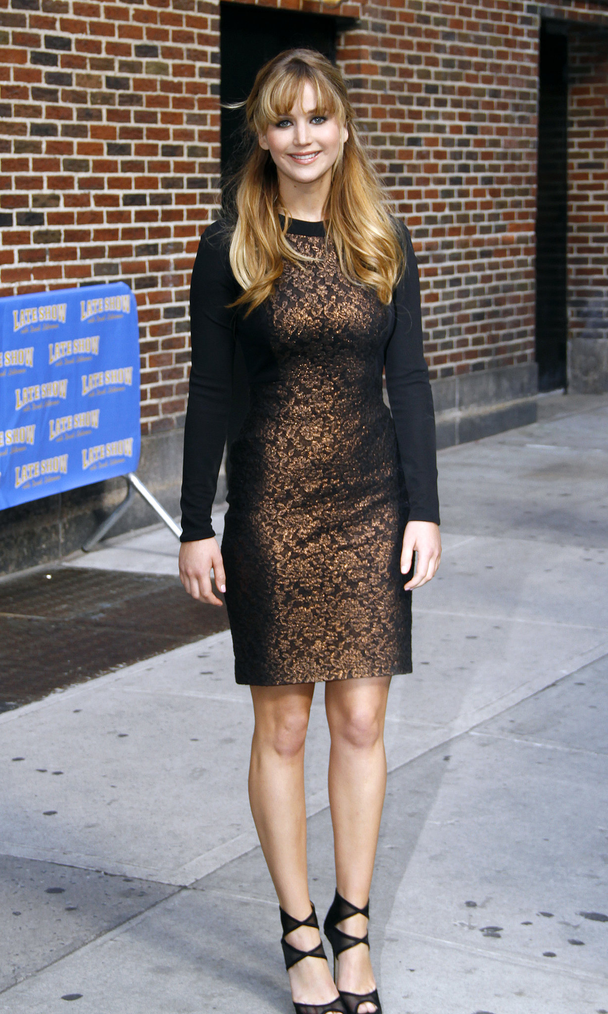 On her way out of The Late Show with David Letterman, Jennifer slipped into this bronzed Prabal Gurung sheath.