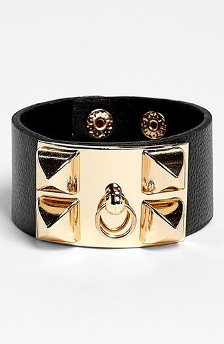 BP. Faux Leather Cuff Bracelet Gold/ Black