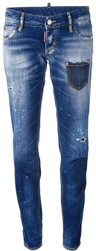 Dsquared2 distressed whiskering jeans