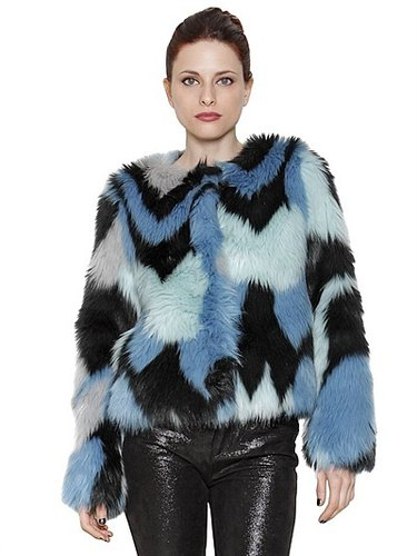 Multicolour Faux Fur Coat