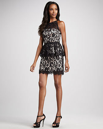 Milly Liza Lace Peplum Dress