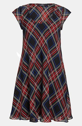 Like Mynded Tartan Scoop Neck Dress