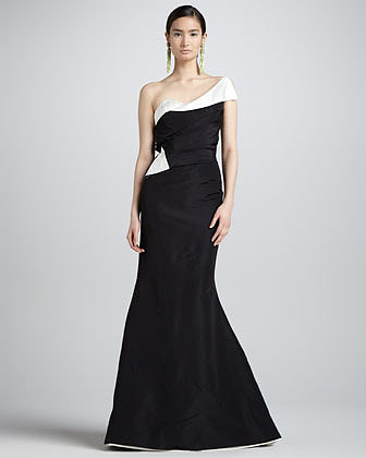 Oscar de la Renta One-Shoulder Two-Tone Gown, Black