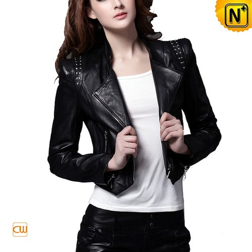 Cropped Leather Jacket Black CW669003 - cwmalls.com
