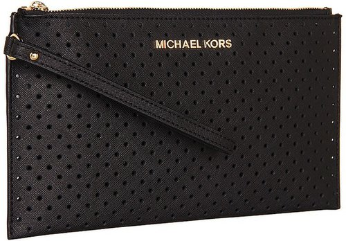 MICHAEL Michael Kors - Jet Set Travel Large Zip Clutch (Black) - Bags and Luggage