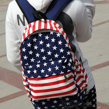 Unique American Flag Print Canvas Backpack