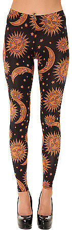 See You Monday The Sun and Moon Print Leggings in Black