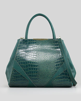 Carlos Falchi Adeline Croc-Embossed Satchel Bag, Green