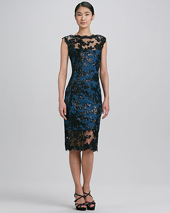 Tadashi Shoji Sleeveless Scalloped Lace Cocktail Dress