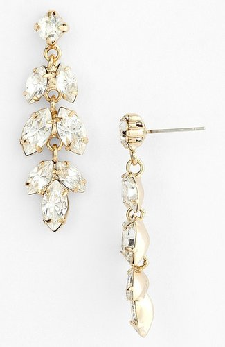 Nina 'Brylee' Crystal Drop Earrings Gold/ Clear Crystal