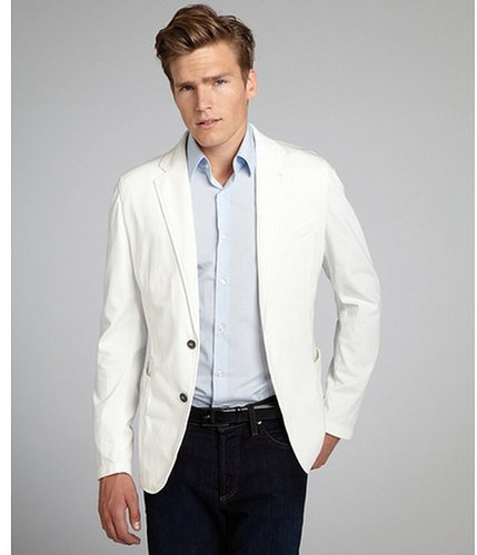 Armani white cotton two-button blazer