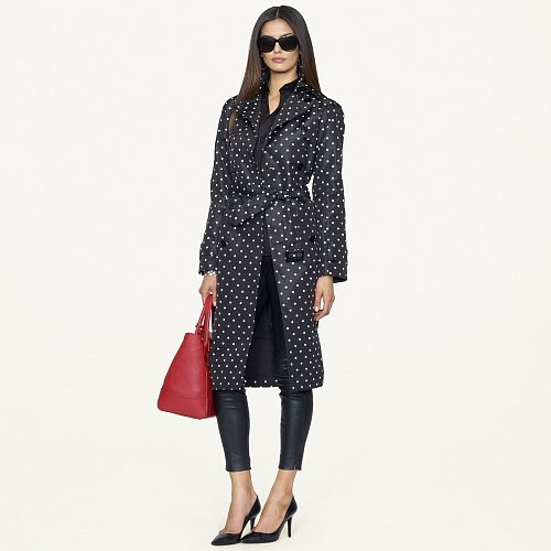 Ralph Lauren Black Label Polka-Dot Victoria Trench Coat