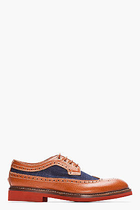 DSQUARED2 Brown Leather & Denim Tudor Longwing Brogues