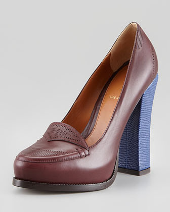 Fendi Austen Oxford Colorblock Pump, Eggplant/Blue