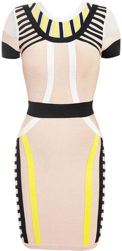 'Charlotte' Nude, Black & Yellow Bandage Dress