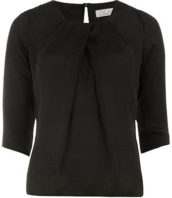 Black pleat neck blouse
