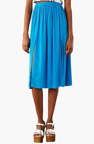 Topshop Double Split Midi Skirt Blue 4