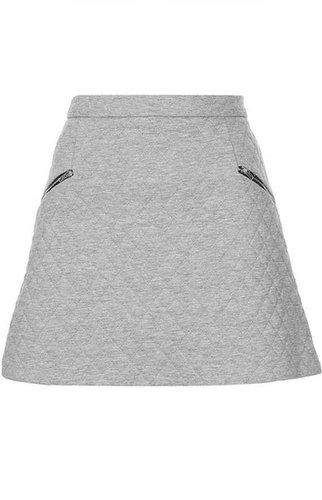 Grey Marl Quilted Zip Pelmet Skirt