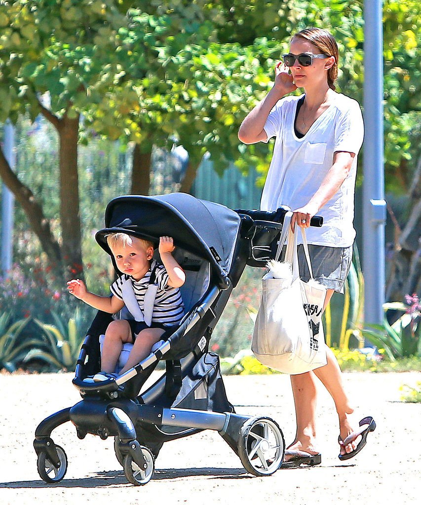 Aleph Millepied played peek-a-boo in his stroller as his mom, Natalie Portman, pushed him for a walk in LA.