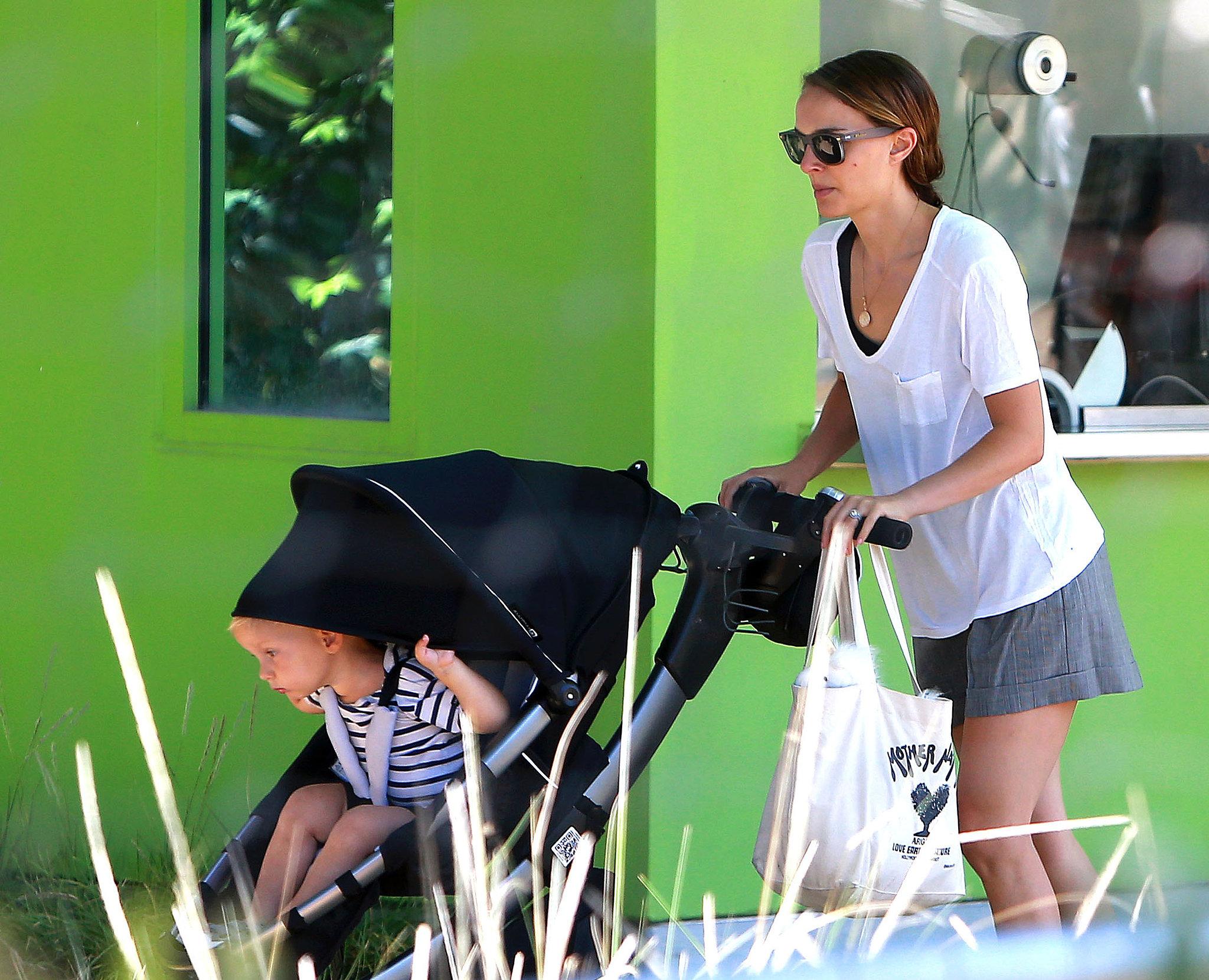 Natalie Portman Strolls While Aleph Plays Peekaboo