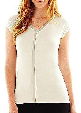 Worthington® Short-Sleeve Satin-Trim Tunic Top