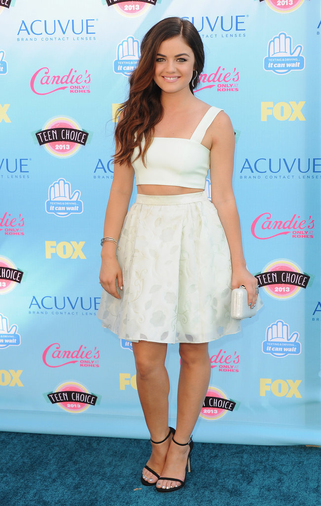 How adorable was Lucy Hale in her white top and flared skirt?