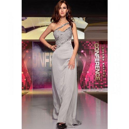 Long Grey Satin Dress