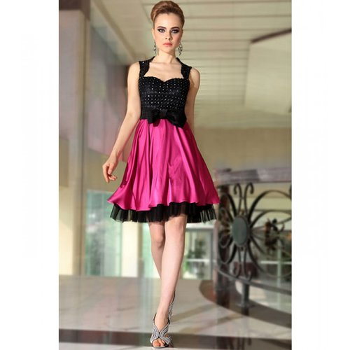 Purple Satin Dress, short