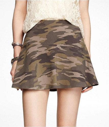 Camouflage Drop Waist Skater Skirt