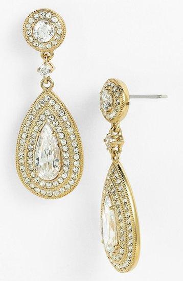 Nadri Pear Drop Earrings Silver/ Clear