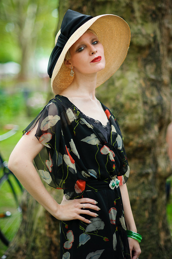 A flutter sleeve and oversize hat lent a romantic vibe to this woman's ensemble. Photo: Jane Kratochvil