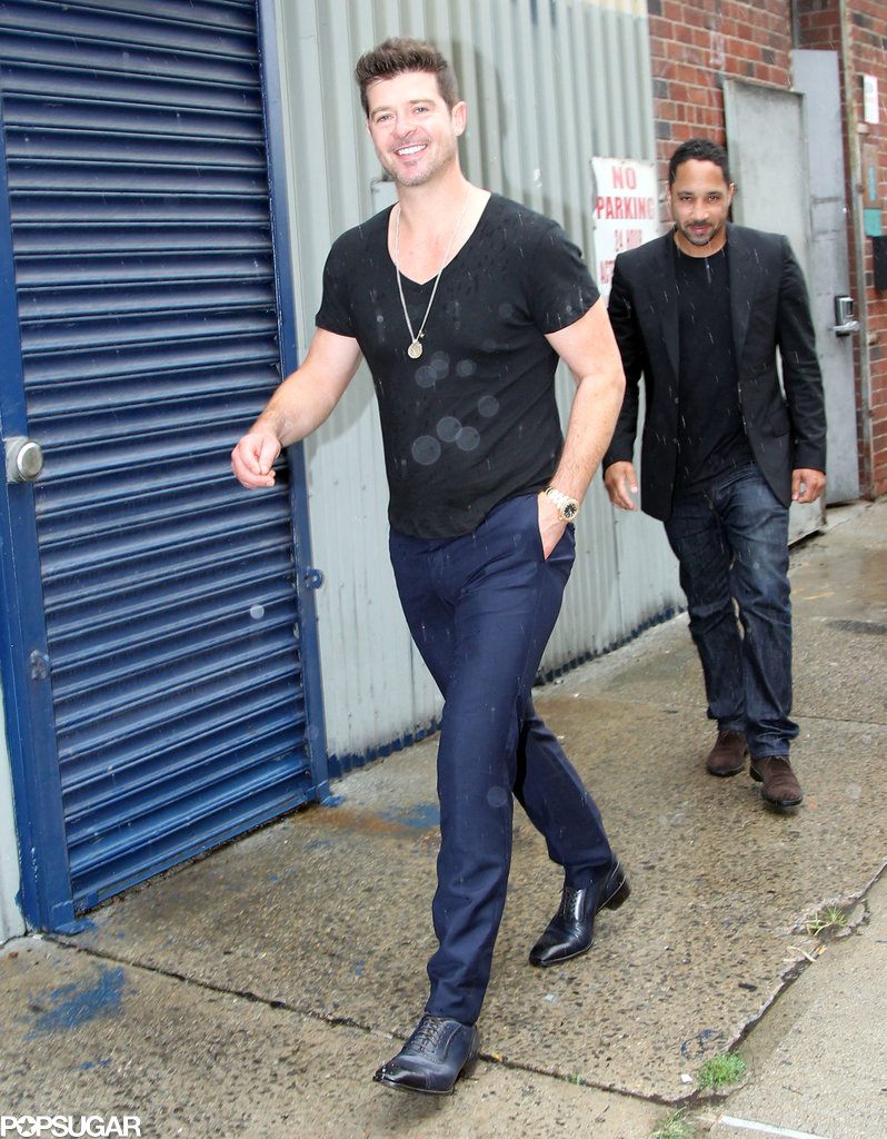 Robin Thicke arrived at the same studio as Miley Cyrus.