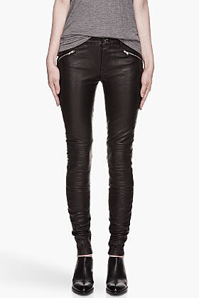 BLK DNM Black Biker Inspired Stretch Leather Pants