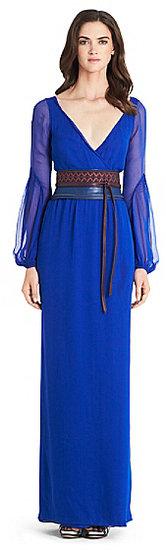 Catroux Chiffon Wrap Gown In Blue