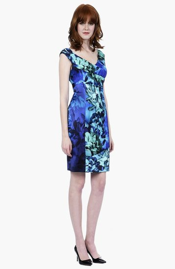 Kay Unger Fitted Stretch Satin Dress