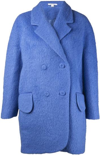 Carven Hairy Drap Long Jacket Blue