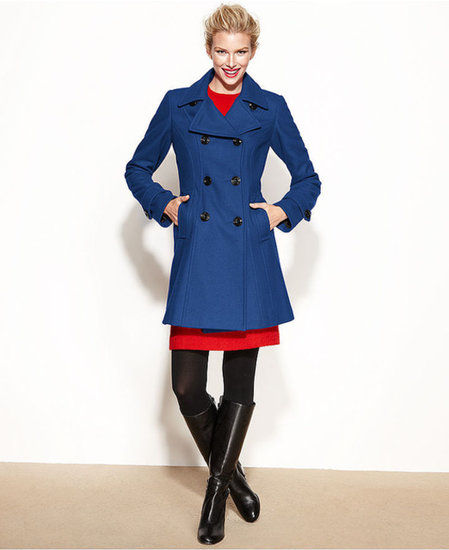 Anne Klein Coat, Double-Breasted Wool-Blend A-Line