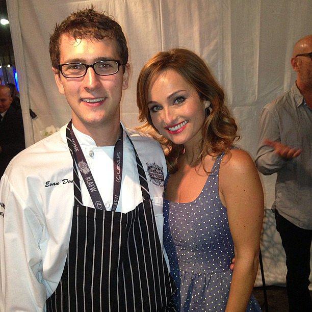 Michael Chiarello took this photo of Bottega sous chef Evan Dodge hanging with Giada De Laurentiis.  Source: Instagram user chefchiarello