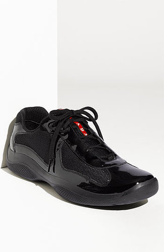Prada 'America's Cup' Mesh & Leather Sneaker (Men) Black Patent 10.5US / 9.5UK M