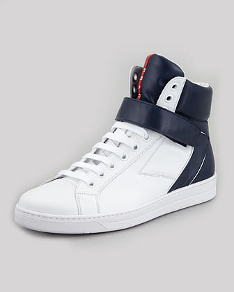 Prada Avenue Bicolor Leather High-Top Sneaker, White/Blue