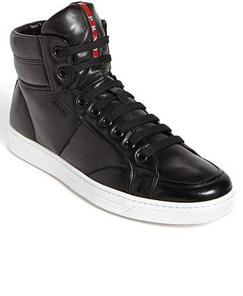 Prada 'Avenue' High Top Sneaker Black/ White 11US / 10UK M