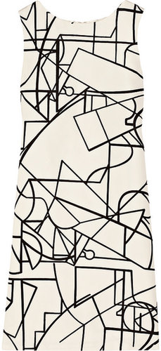 Oscar de la Renta Geometric-print silk-faille dress