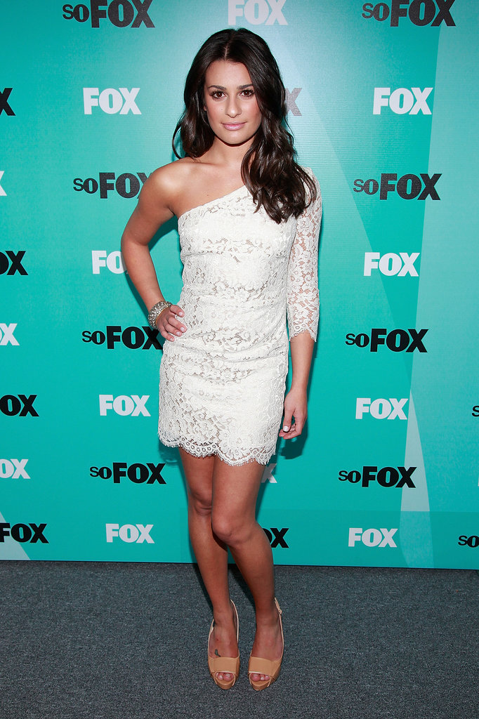 For the 2009 Fox UpFronts, Lea capitalized on the power of basics donning a one-shoulder little lace dress and nude bow-detail pumps.
