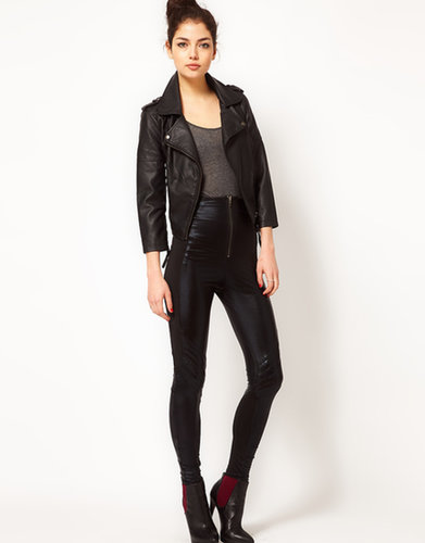 Religion Leather Look Biker Leggings