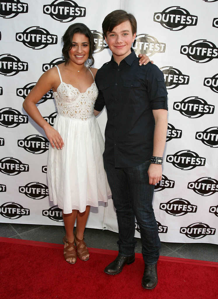 Lea and her close castmate Chris Colfer posed together on the red carpet at the Gay and Lesbian Film Festival in LA in July 2009.