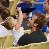Cute David Beckham With Harper Pictures at LA Dodgers Game
